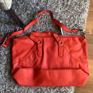 French connection orange duffle bag